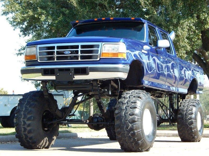 1997 ford f 350 7 3l diesel 4x4 crew cab long bed xlt monster lift for sale. Black Bedroom Furniture Sets. Home Design Ideas