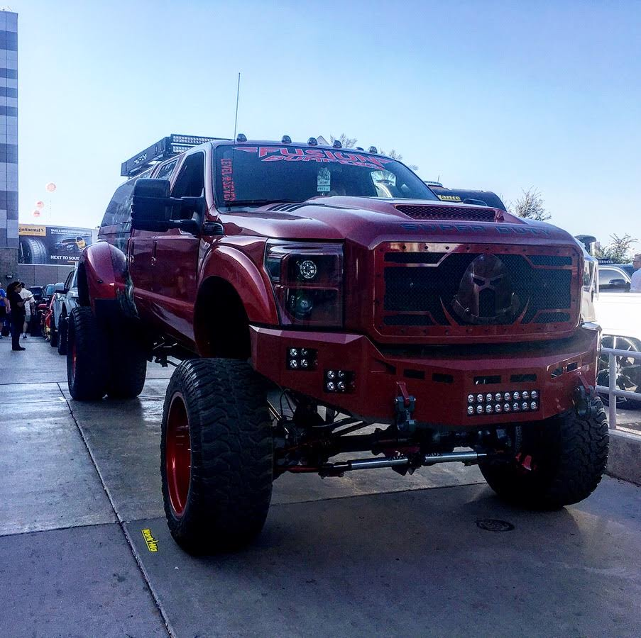heavily customized 2016 Ford F 350 Lariat monster truck